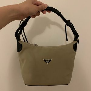 Prada beige canvas bag w/ black leather strap
